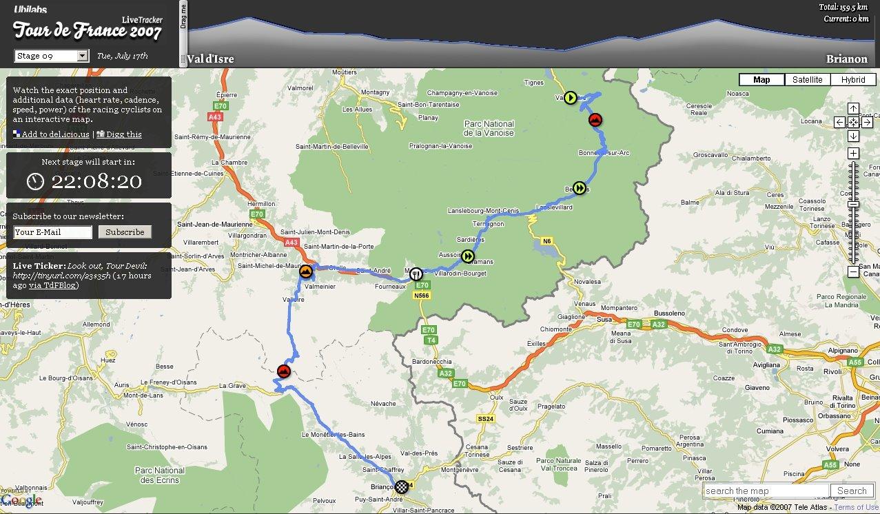 Mashup del tour de francia tufuncion tour de francia 2007 en directo con google mapsearth gumiabroncs Choice Image